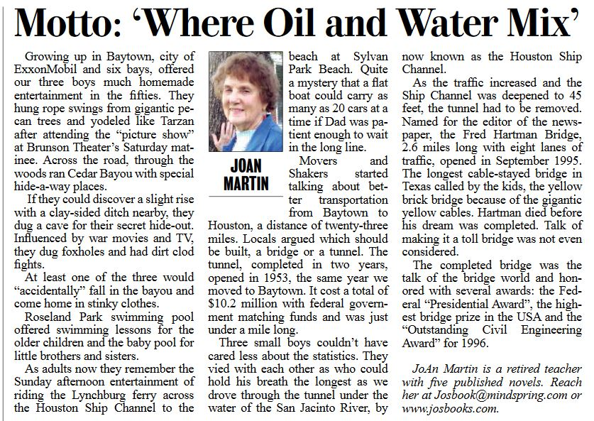 Published in the Baytown Sun June 20, 2017 and used with authors permission.
